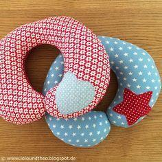 DIY Tutorial zum Nähen von Nackenhörnchen / Nackenkissen für Kinder / www.loloundtheo.blogspot.de (Diy Baby Pillow)