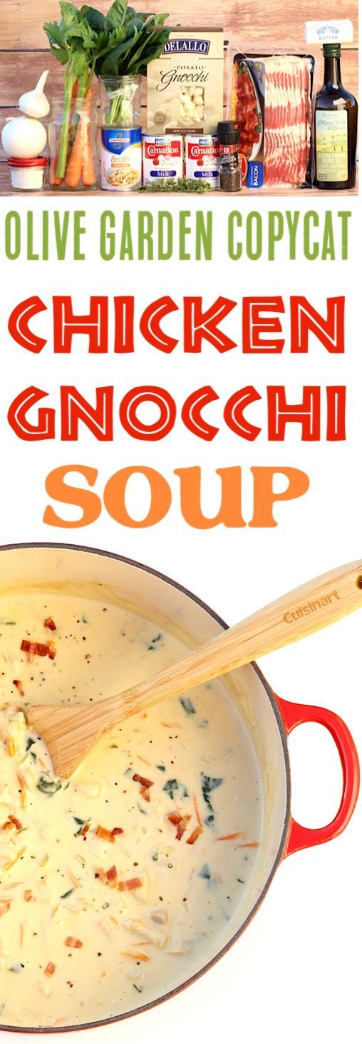 Chicken Gnocchi Soup Olive Garden Copycat Easy Recipe!    This Creamy One Pot Soup is the tastiest way to warm up on a chilly day!  Add it to your menu this week! #chickenfoodrecipes