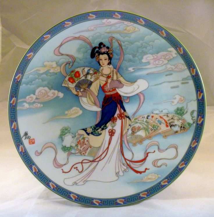 1991 - Case of The Folding Fans 12th plate in theLegends Of West Lake Series Artist:Jiang Xue-Bing. Size: 8½''.