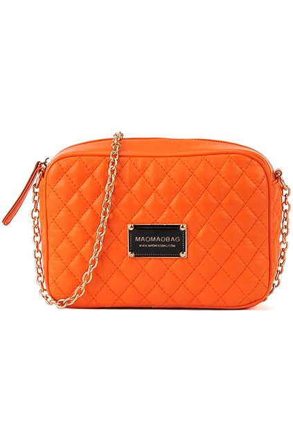 Orange Chained Shoulder Quilted Bag. Description Bag, featuring square shaped design, zip top closure and a quilted throughout, front branded logo, a reinforced base unit, a long adjustable shoulder strap, spacious and contrasting fabric lining, and inner pocket. Fabric Vinyl and Cotton. Washing Specialist Dry Clean. #Romwe