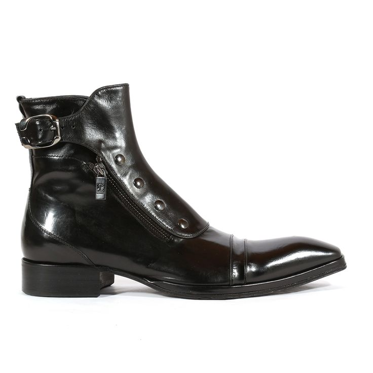 Jo Ghost Italian Mens Shoes Montalcino Nero x Plato Black Leather Boots (JG2103)