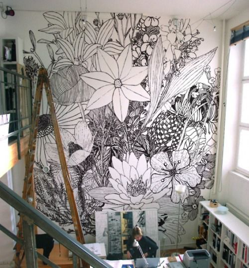 Line Art Mural : Graphic black and white line drawings make a bold