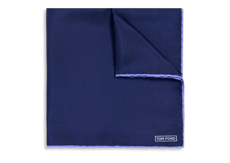 NAVY WITH LILAC EDGE SILK POCKET SQUARE | Shop Tom Ford Online Store