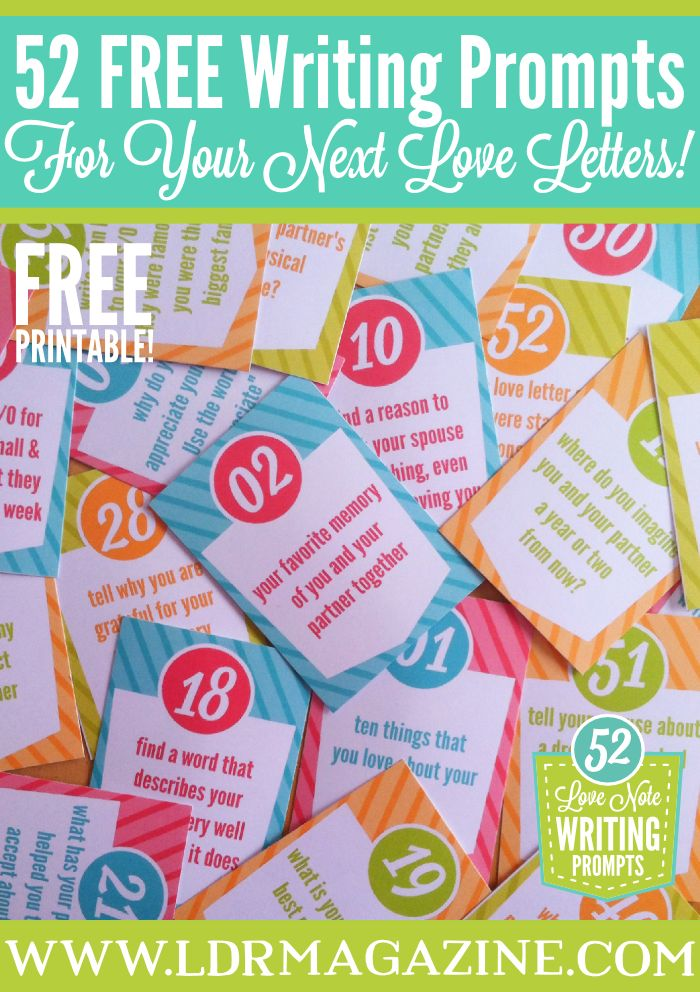 52 Love Letter prompts for 52 weeks of love letter ideas! www.ldrmagazine.com