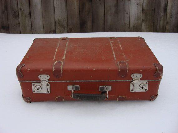 Antique Brown Suitcase Brown Hardboard Luggage от OldMoscowVintage