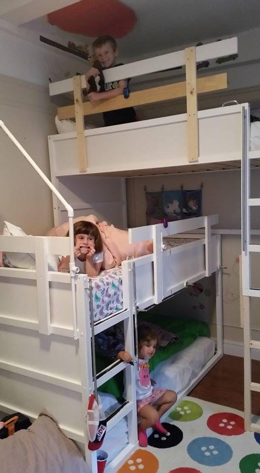 Triple bunk bed complete!!   Ikea kura hack  Bedroom for 3!