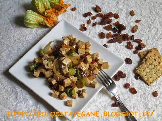 Tofu alle Zucchine , Uvetta e Pomodorini