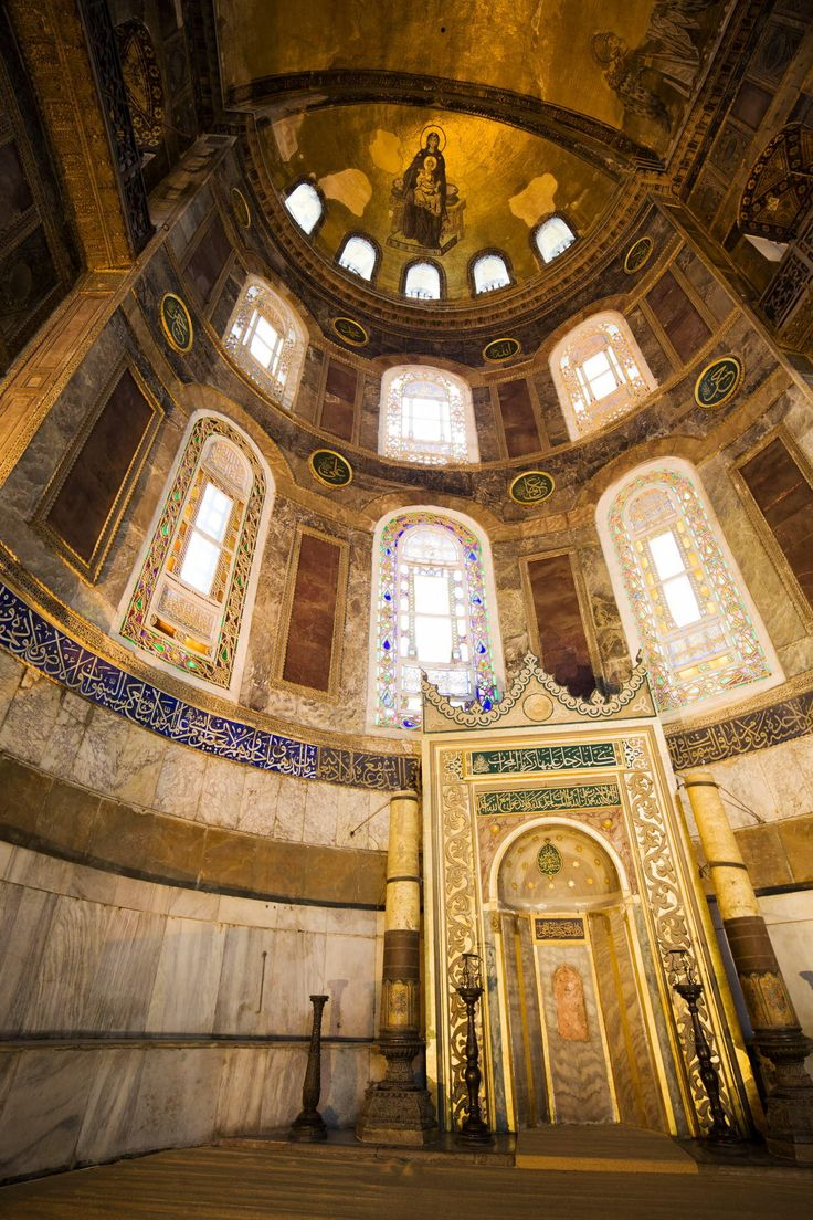 Situated in the apse of Hagia Sophia, the altar which indicates the qibla was used by imams who lead the prayers. This semicircular niche is ornamented with tiles and verses from Quran. Both sides of it are with two giant bronze candlesticks, brought from a cathedral in Buda druing the Hungarian Campaign of Suleyman the …