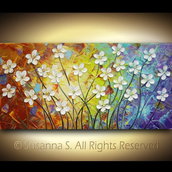 a    Painting Palette ORIGINAL Knife online Impasto Landscape Fine by   Knife designer Modern White Large Palette Susanna Flowers Art Contemporary   x   Paper australia   Abstract Flowers  shopping