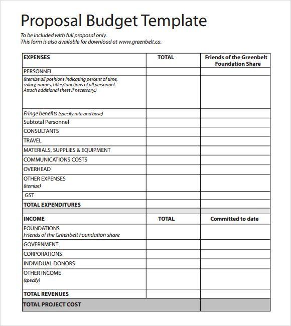 Budgetary Proposal Template