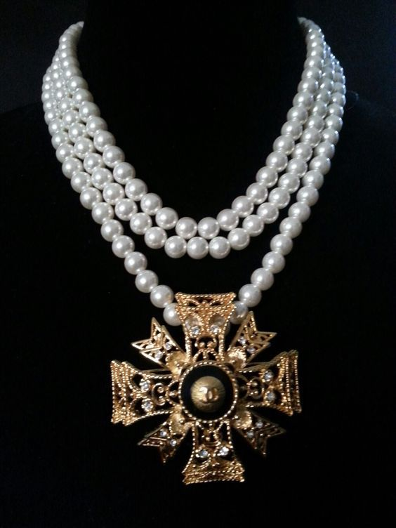 ♔ Chanel ~ Maltese Cross pendant and pearl necklace