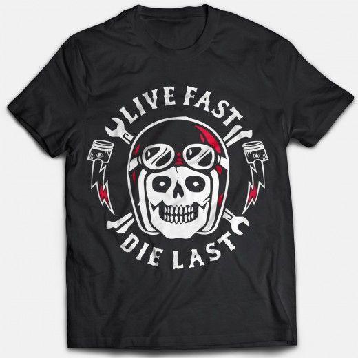 Live Fast Die Last Tshirt - Automobiles>Bikes