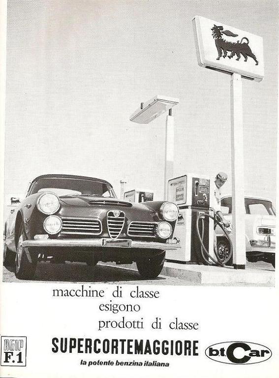 1966 Supercortemaggiore fuel ad featuring the #AlfaRomeo 2600 Spider Touring and the Giulia @Alfa Romeo Official