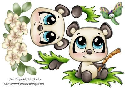 Cute panda little dragonfly flowers A4 on Craftsuprint - Add To Basket!