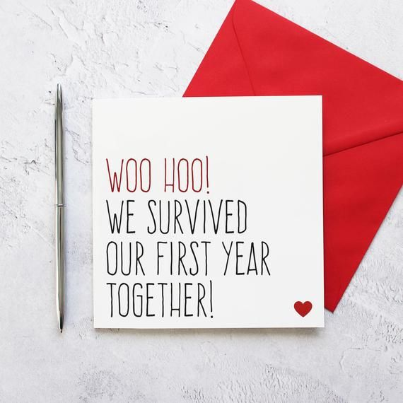 First Anniversary Card Funny 1 Year Anniversary Card Etsy Funny Anniversary Cards Anniversary Cards For Boyfriend 1 Year Anniversary Gifts