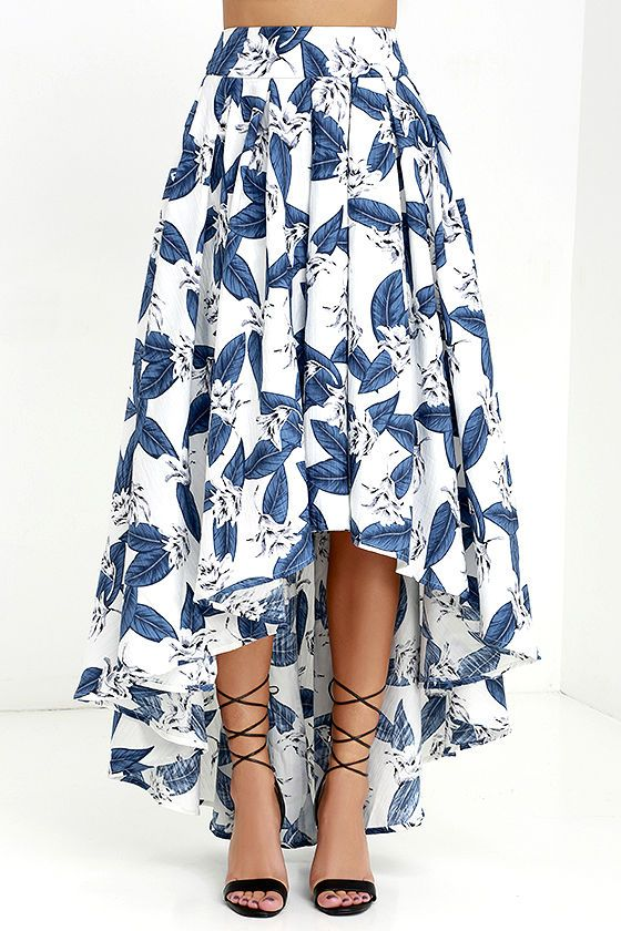 Your trip is about get that much better because it provides you the perfect opportunity to wear the Tropical Getaway Blue and Ivory Floral Print High-Low Skirt! Textured woven fabric has a bold blue botanical print, beginning at a high waistline with attached sash. High-low skirt is made voluminous by a hidden layer of tule. Hidden back zipper with clasp.