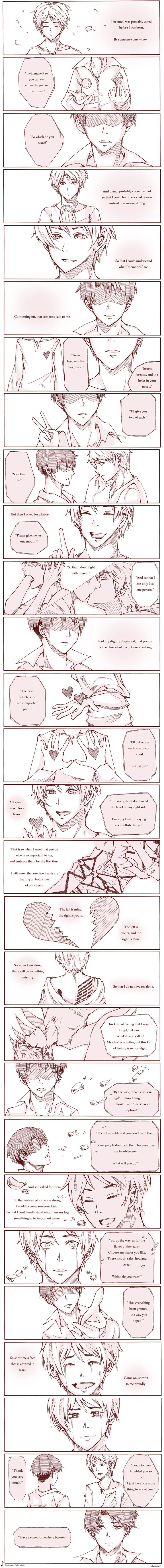 Found this comic on Deviantart. The words are lyrics to the Japanese song Order Made by Radwimps.