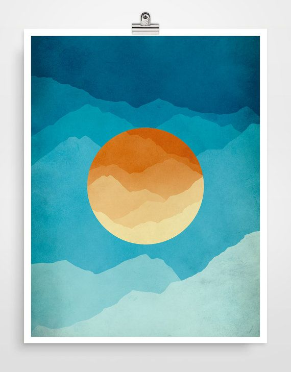 Blue and Orange Midcentury Art Modern Art Large Wall by evesand