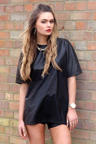 The JET TEE! the perfect leather look oversized tee online now at AZTRAL!