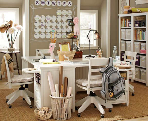 beadboard mega study from pottery barn.. love the dry-erase dot calendar