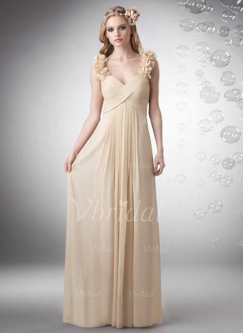 Bridesmaid Dresses - $126.47 - Empire Sweetheart Floor-Length Chiffon Bridesmaid Dress With Ruffle Flower(s) (00705005990)