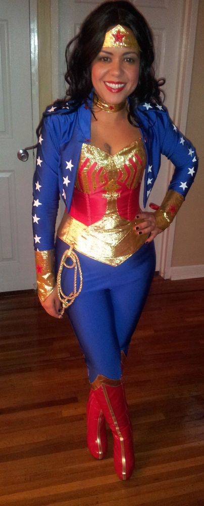 LOOK NEW ++++++ wonder woman costume with jacket and legging s ++++++ LOOK NEW