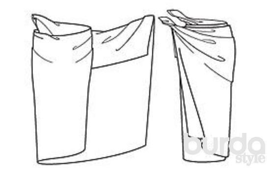 ЮБКА Верхний край парео завернуть до желаемой длины будущей юбки. Парео, придерживая правый конец, уложить вдоль поясницы. Парео один раз полностью обернуть вокруг талии (рисунок слева). Левый конец спереди завернуть вправо (рисунок справа), затем сбоку оба конца туго завязать узлом.