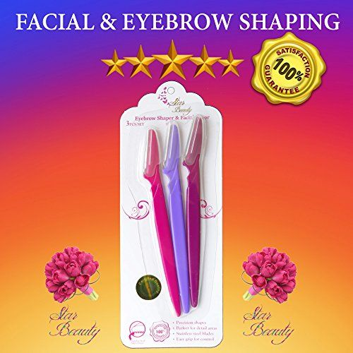 "Womens Eyebrow Razor & PERFECT Womens Facial Razor peach fuzz hair removal, Star Beauty US Brand BEST SELLER for Facial Hair Removal & daily dermaplaning womens face razor & eyebrow shaping & trimming 🌷 100% QUALITY Korean Blades. *** DIAMOND CUT FOR PRECISION ***Official US Trademarked Product. 🌷 ACHIEVE PERFECTLY SHAPED EYEBROWS with painless and effortless actions. No more tweezing pain. 🌷 REMOVE FACIAL HAIR ""peach fuzz"" in the privacy of your home DERMAPLANING an"