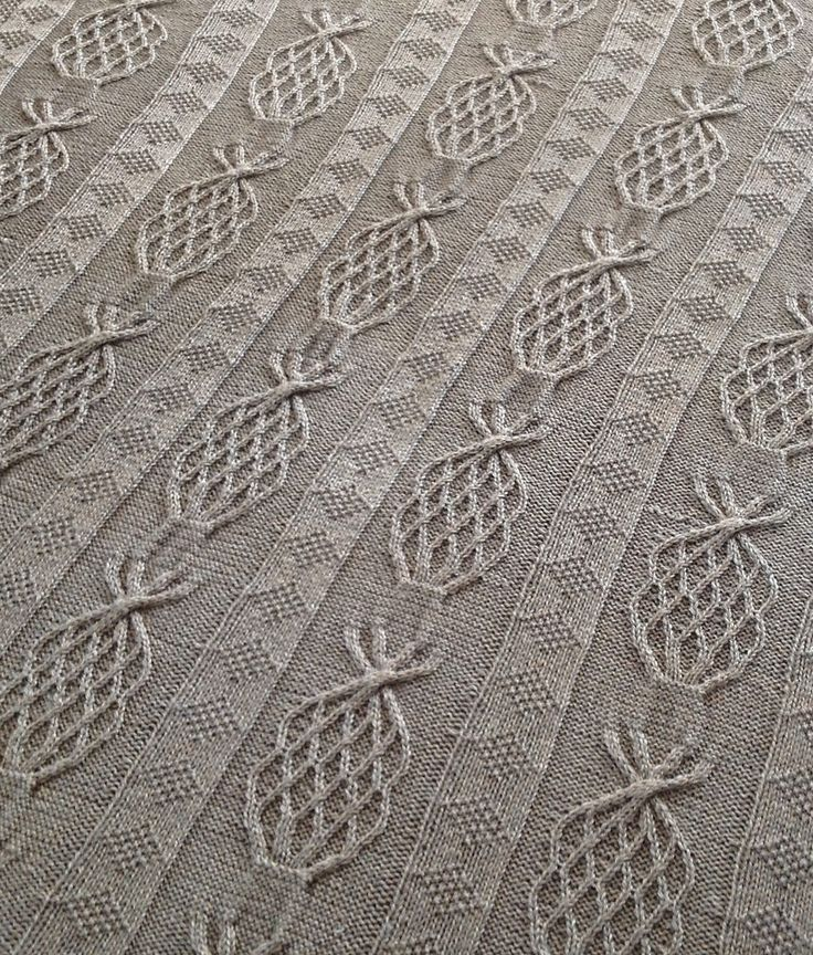 Free Knitting Pattern for Pineapple Afghan - This throw worked with textured stitches and cable pineapple motifs in worsted yarn. Approximate finished size: 48 by 53. Designed by Craft Yarn Council of America. Pictured project bydykstra109