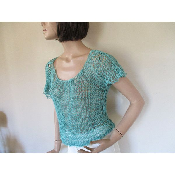 Green hand knitted top ($31) ❤ liked on Polyvore featuring tops, sexy summer tops, loose fitting tops, loose fit tops, summer beach tops and summer tops