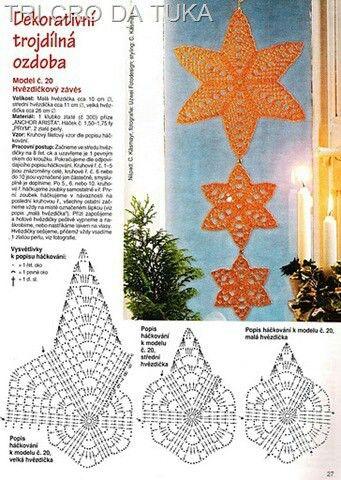 """Stern häkeln ... mehr Winter + Weihnachts Motive auf meiner Pinnwand """" Winter / Weihnachten """" ;O) crochet star"""