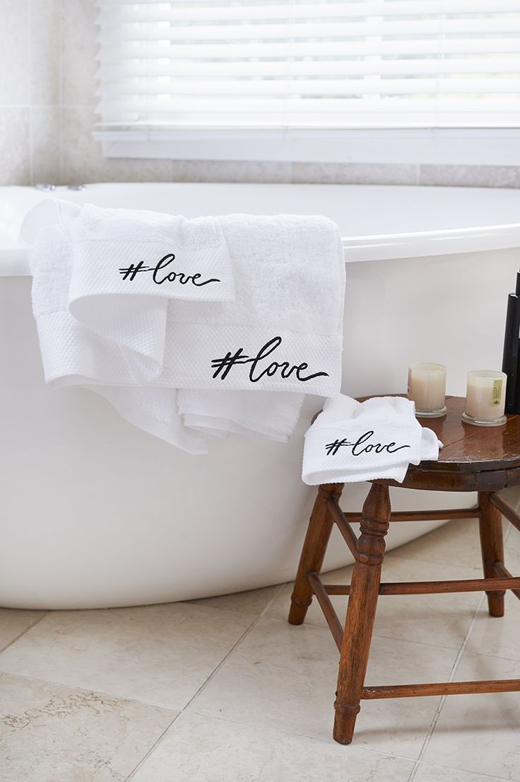 Matching #love embroidered towels