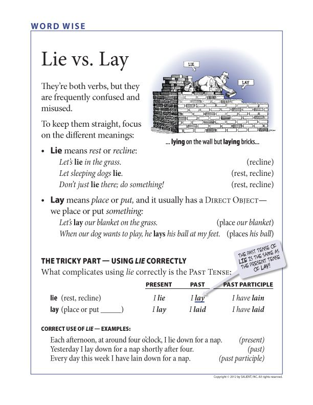 "FREE Grammar poster: Lie vs. Lay My college professor illustrated this well by lying down on a huge table (lie), then standing on the table, hold a huge dictionary above his head, dropping it onto the table, and saying, ""I LAY the book on the table."" He did this several times. I've never forgotten the difference. But this is a good graphic."