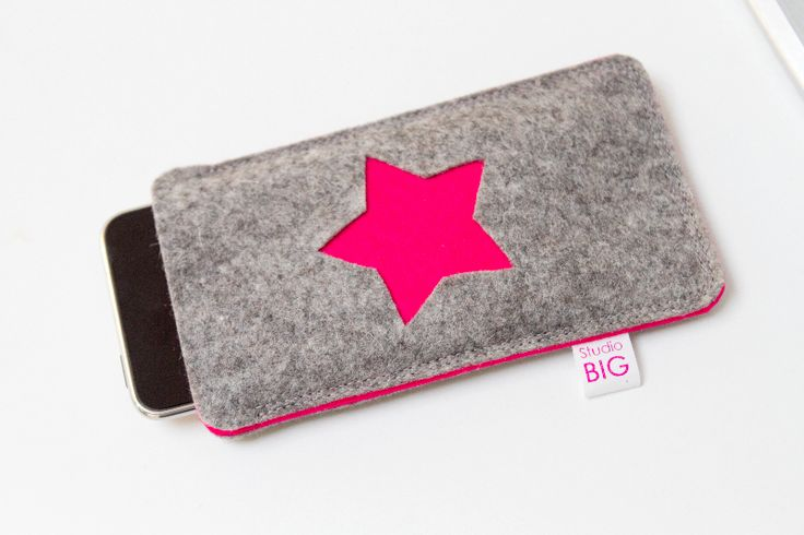 Hot Pink Felt star phone case