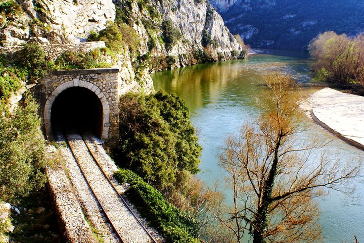 Railroad over river in xanthi