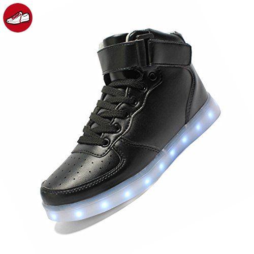 Turnschuhe - SODIAL(R)USB-Lade Leuchtende Schuhe Maenner Frauen Leder Wasserdichte Schuhe Leuchtende Turnschuhe fuer Erwachsene Groesse 45 Schwarz (*Partner-Link)