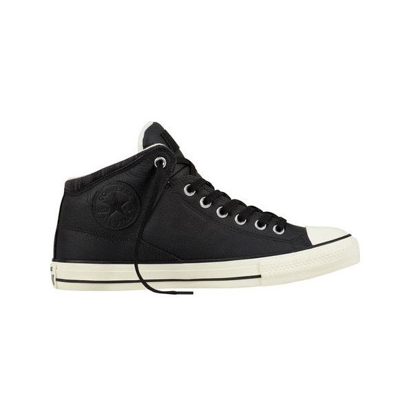Converse Chuck Taylor All Star High Street Hi Tumbled ($70) ❤ liked on Polyvore featuring shoes, sneakers, casual shoes, converse high tops, black laced shoes, black sneakers, black leather high tops and high-top sneakers