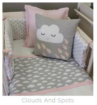 If your #BabyGirl is a born #dreamer, then our #CloudsTheme in #Pink and #Grey is perfect for you!  #BabyBedding #BabyLinen