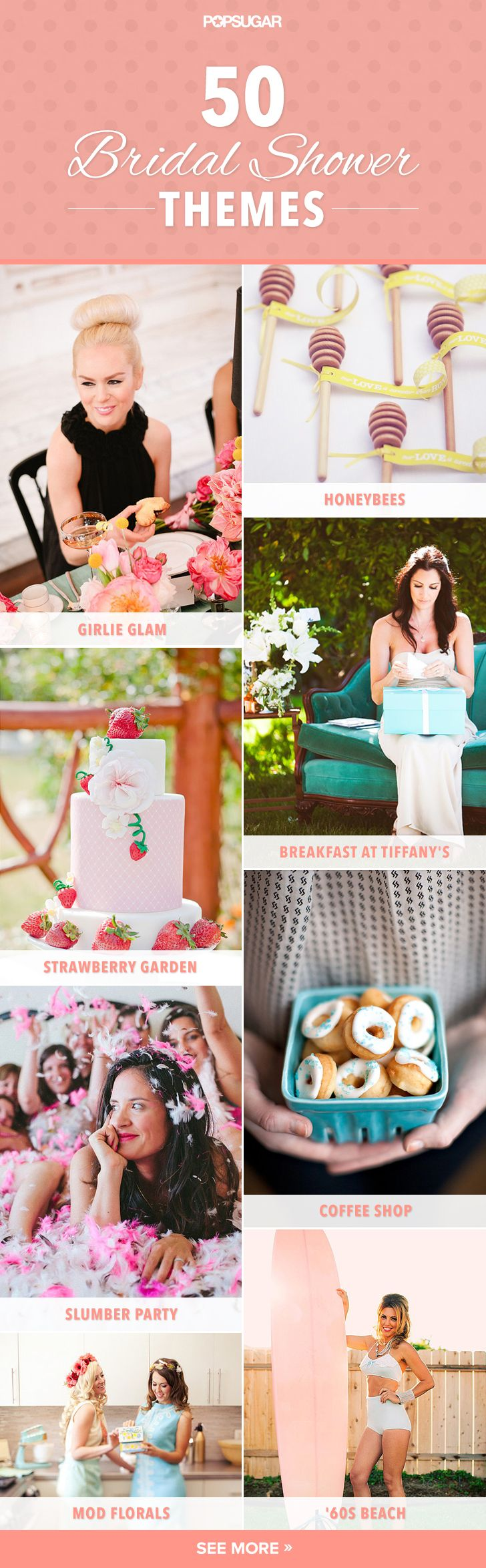 Single or not, weddings make for the ultimate girl-bonding events: bridal showers and bachelorette parties. So we've scoured our favorite big-day blogs for 50 of the most fun, creative, and pretty party themes, perfect for a bridal shower or bachelorette party.