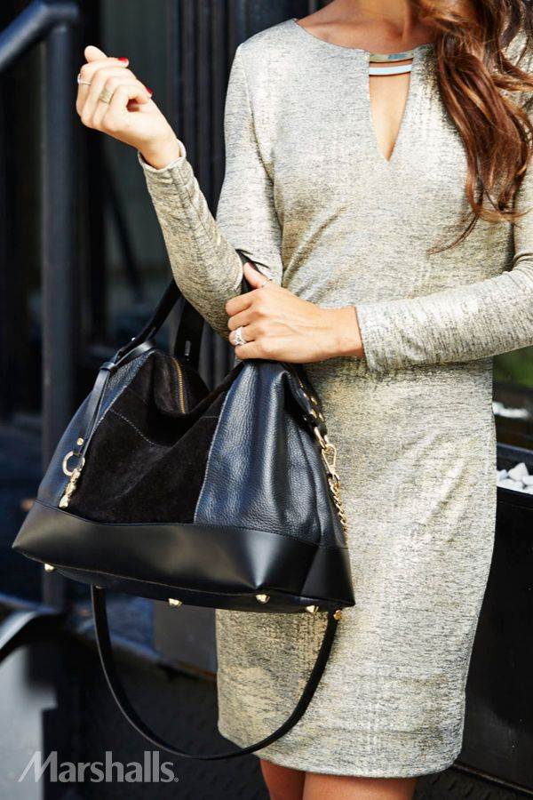 As good as gold. Add a metallic gold dress to your fall palette and you'll sparkle day or night. A black leather and suede bag with gold accents is the perfect complement.