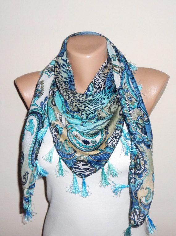 blue scarf multicolor cotton scarf turkish scarf yemeni scarf