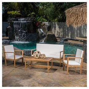Luciano 4pc Acacia Wood Patio Chat Set With Cushions   Brown Patina    Christopher Knight Home Part 84