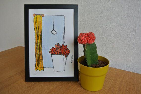 Monotype 'Venster met bloemen' - Rode bloemen in vaas, unieke druk, inclusief lijst
