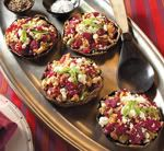 roasted portobellos with beets and goat cheese - mmmmmmmm. these are so so yummy. great veg side or lighter main dish! make them in baby bellas for an app!