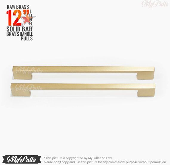 12 00 Inches 2 Pcs Solid Brass Natural Raw Brass Long Bar Pulls