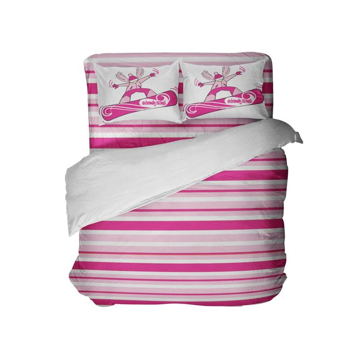 Pink and White Stripes Comforter Set with Snowboard Girl Pillowcases from Kids Bedding Company