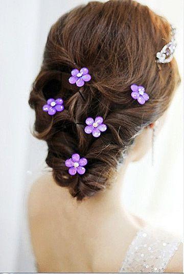 Hair inspiration #bridal #updo #purple #floral
