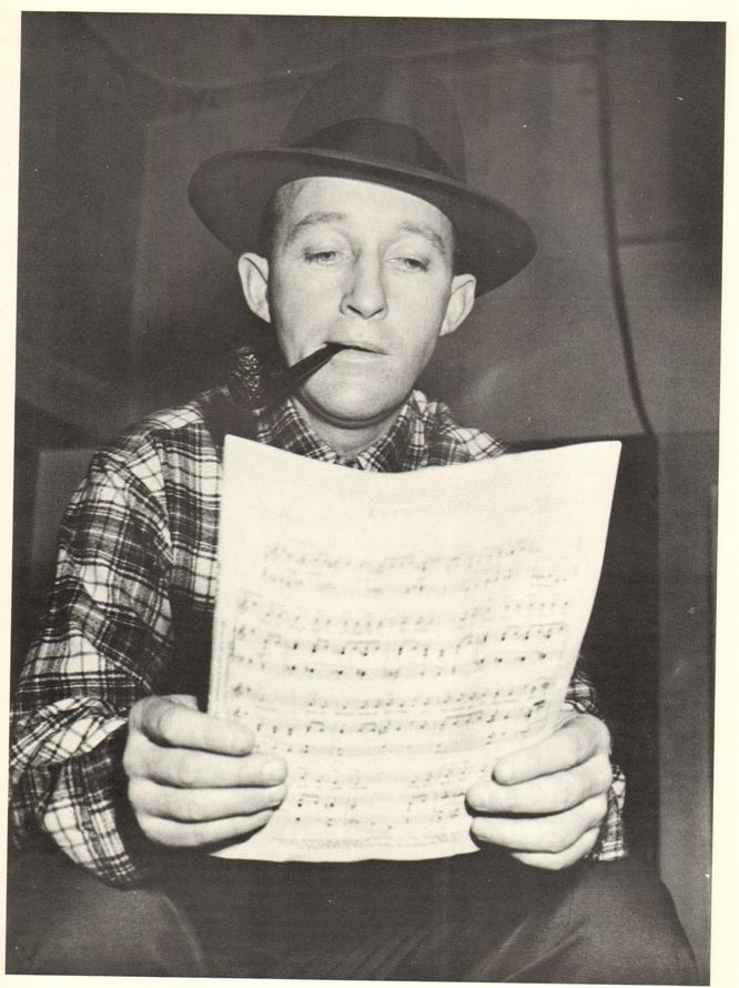Image of Bing Crosby reading the sheet music is from a CBS radio recording session in the fall of 1954, at the CBS studio in Hollywood courtesy of HLC Properties Ltd.