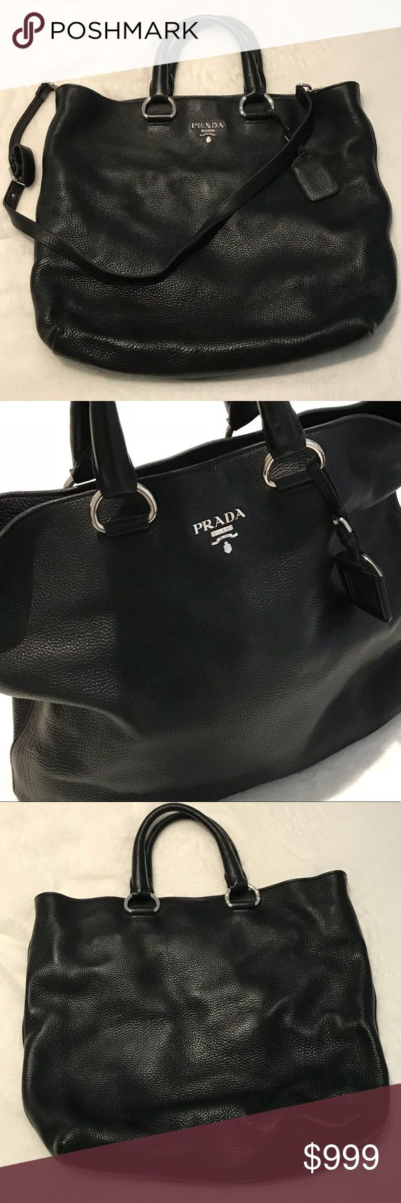 "Prada Leather Tote/Messenger Bag Perfect for work, travel, laptop bag or large purse. Like NEW!  Always in fashion, absolutely timeless! 100% authentic, with ID cards and original dust bag. Inside, outside and hardware are in perfect condition. No marks. Can be carried by hand or with the long strap (removable and adjustable between 22""-29""). Bag size is 13"" x 17"". Leather is heavy yet soft. A true investment for your closet! *SHIPS SAME OR NEXT BUSINESS DAY!* 🚫 no trades Prada Bags Totes"