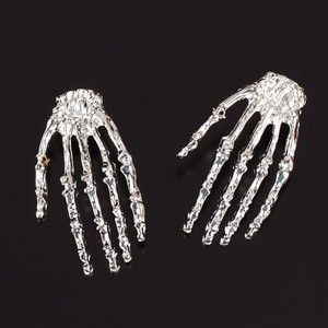 Halloween Silver Skeleton Hand Skull Bone Earrings Party Props Favor Emo Jewelry | eBay